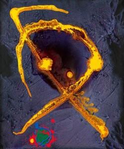 'Saffron Medusa' by John Hoyland, 2010.